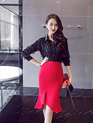 cheap -Women's Daily Knee-length Skirts,Sexy Street chic Solid Fall
