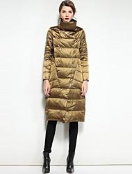 preiswerte -Damen Daunenjacke Mantel,Lang Niedlich Street Schick Ausgehen Lässig/Alltäglich Solide-Nylon Langarm