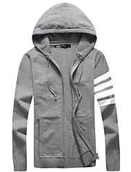 cheap -Men's Others Casual Regular Cardigan,Solid Hooded Long Sleeves Polyester Autumn Medium Micro-elastic