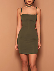 Women's Party Club Simple Sexy Bodycon DressSolid Hollow-out Strap Mini Sleeveless Polyester Summer Fall High Rise Micro-elastic Opaque