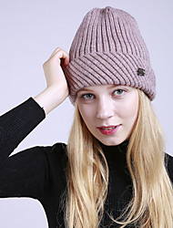 cheap -Women's Acrylic Roman Knit Floppy Hat,Vintage Cute Casual Striped Winter Braided Black Red Blushing Pink Navy Blue Gray
