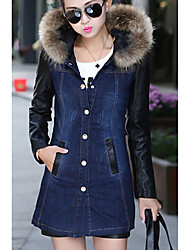 cheap -Women's Going out Denim Jacket - Solid Colored V Neck
