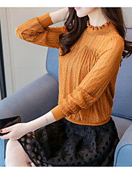 Women's Daily Wear Vintage Shirt,Hollow Crew Neck Long Sleeves Cotton