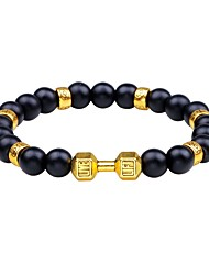 cheap -Men's Obsidian Cool Strand Bracelet - Simple Circle Gold Silver Bracelet For Daily Carnival