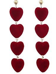 abordables -Mujer Largo Pendientes colgantes - Corazón Moda Gris / Rojo / Verde Para Diario / Fiesta de Noche
