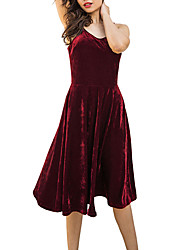 cheap -Women's Club Velvet Sheath Swing Dress - Solid Colored Hollow-out Backless High Rise Strap