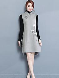 Ample Robe Femme Décontracté / Quotidien Travail Rétro Chinoiserie,Broderie Col Mandarin Asymétrique Sans Manches Autres Hiver Automne