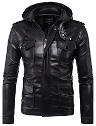 cheap -Men's Punk & Gothic Plus Size Leather Jacket - Solid, Pocket Stand