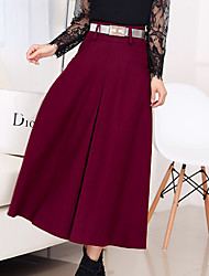 cheap -Women's Work Street Long Length Skirts A Line Solid Fall Winter