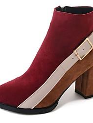 baratos -Mulheres Sapatos Borracha Inverno Coturnos Botas Ponta Redonda para Ao ar livre Preto Vermelho Verde