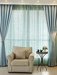 Grommet Top Double Pleat Pencil Pleat Curtain Modern , Printed Solid Living Room Cotton Material Blackout Curtains Drapes Home Decoration