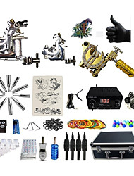 cheap -Tattoo Machine Professional Tattoo Kit 2 steel machine liner & shader 1 alloy machine liner & shader High Quality LED power supply 2 x