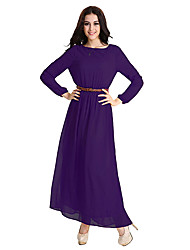 cheap -Women's Daily Holiday Vintage Casual Boho Street chic Shift Chiffon Swing Dress,Solid Round Neck Maxi Long Sleeve Polyester Elastane