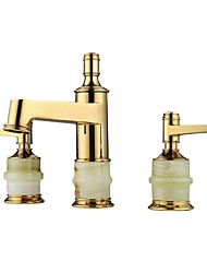cheap -Classic Style Luxury Widespread Luxury High Quality Brass Valve Two Handles Three Holes Ti-PVD , Bathroom Sink Faucet