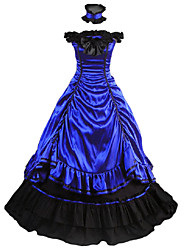 cheap -Vintage Medieval Victorian Gothic Costume Women's Party Costume Masquerade Blue Vintage Cosplay Other Satin Sleeveless Cap