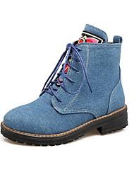 baratos -Mulheres Sapatos Pele Nobuck Primavera Outono Coturnos Tira no Tornozelo Botas Ponta Redonda Botas Curtas / Ankle Apliques para Preto
