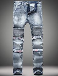 economico -Da uomo A vita medio-alta Casual Jeans Chino Pantaloni,Tinta unita Lino