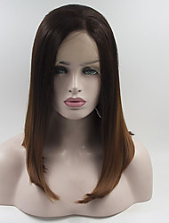 Women Synthetic Wig Lace Front Short Medium Brown/Dark Auburn Bob Haircut Natural Wigs Costume Wig