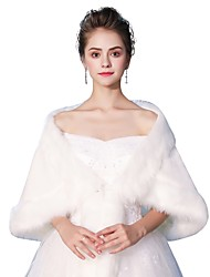 cheap -Sleeveless Faux Fur Wedding Party / Evening Women's Wrap With Smooth Lace-up Shawls
