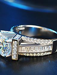 preiswerte -Damen Verlobungsring Bandring Kubikzirkonia Strass Silber Kubikzirkonia Silber Hochzeit Party Modeschmuck