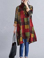 Women's Daily Wear Loose Dress,Color Block Stand Knee-length Long Sleeve Polyester Fall High Rise Micro-elastic Thin