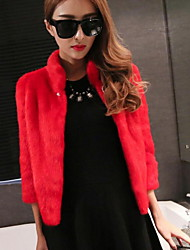 cheap -Women's Casual/Daily Simple Winter Fall Fur Coat,Solid Stand ¾ Sleeve Short Fox Fur Oversized
