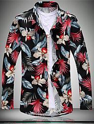cheap -Men's Daily Boho All Seasons Shirt,Floral Button Down Collar Long Sleeve Cotton Rayon Polyester Medium