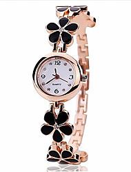 preiswerte -Damen Armband-Uhr Quartz Legierung Band Blume Schwarz Weiß