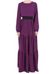 cheap -Women's Daily Going out Vintage Cute Casual Street chic Chiffon Swing Jalabiyah Dress,Solid Color Block Round Neck Maxi Long Sleeve