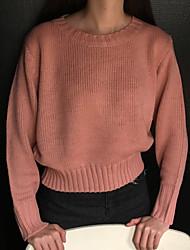 Недорогие -Для женщин На каждый день Обычный Пуловер Однотонный,Круглый вырез Длинный рукав Шерстяная ткань Осень Зима Средняя strenchy