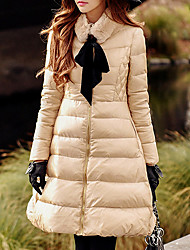 Women's Long Down Coat,Cute Street chic Sophisticated Going out Casual/Daily Holiday Solid-Nylon Rex Rabbit Fur White Duck Down Feather