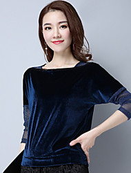 cheap -Women's Daily Wear Casual Regular Pullover,Solid Round Neck Long Sleeves Acrylic Fall Thin Micro-elastic