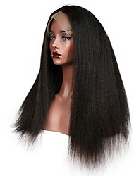 cheap -Remy Human Hair Lace Front Wig / Glueless Lace Front Wig Brazilian Hair kinky Straight 130% / 150% / 180% Density African American Wig Women's Short / Long / Mid Length Human Hair Lace Wig