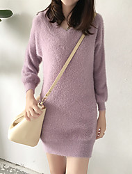 Women's Daily Sweater Dress,Solid V Neck Above Knee Long Sleeves Faux Fur Mid Rise Stretchy Thick