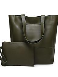 baratos -Mulheres Bolsas PU Conjuntos de saco 2 Pcs Purse Set Ziper Marron / Verde Tropa / Vinho