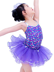 cheap -Kids' Dancewear Dresses Children's Performance Spandex Elastic Organza Sequined Paillette Sleeveless Natural Dresses Headpieces