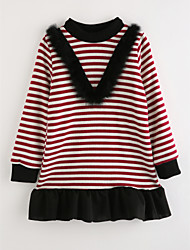 cheap -Toddler Girls' Casual Striped Long Sleeve Dress / Cotton