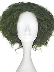 cheap -Synthetic Wig Kinky Curly Green Men's Capless Carnival Wig Halloween Wig Party Wig Lolita Wig Natural Wigs Cosplay Wig Short Synthetic