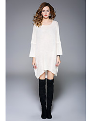 Women's To-Go Going out Simple Loose Sweater Dress,Solid Round Neck Above Knee Asymmetrical Long Sleeve Acrylic Fall Winter High Waist