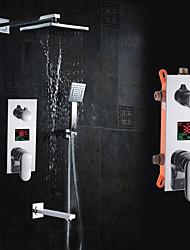 Недорогие -Современный На стену Дождевая лейка Ручная лейка входит в комплект Керамический клапан Одной ручкой четыре отверстия Хром , Смеситель для