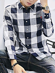 cheap -Men's Daily Street chic Shirt,Check Square Neck Long Sleeves Cotton