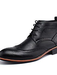 cheap -Men's Boots Fall Winter Comfort PU Casual Flat Heel Lace-up Black Brown Yellow