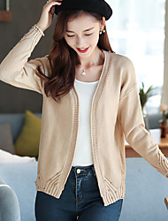 Women's Daily Wear Regular Cardigan,Solid V Neck Long Sleeves Polyester Fall Winter Medium Micro-elastic