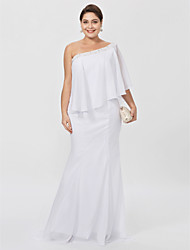 cheap -Sheath / Column One Shoulder Floor Length Chiffon Plus Size Mother of the Bride Dress with Beading by LAN TING BRIDE®