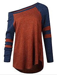 Standard Pullover Da donna-Ufficio Sensuale Monocolore A cappuccio Manica lunga Poliestere Primavera/Autunno Medio spessore Media