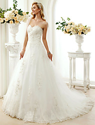 cheap -A-Line Princess Sweetheart Chapel Train Lace Tulle Wedding Dress with Beading Appliques by LAN TING BRIDE®