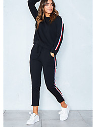 cheap -Women's Sports Casual Winter Hoodie Pant Suits,Solid Round Neck Long Sleeve Stripe Cotton Polyester Micro-elastic