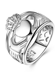 cheap -Men's Women's Band Rings , Metallic Fashion Stainless Heart Jewelry For Engagement Gift