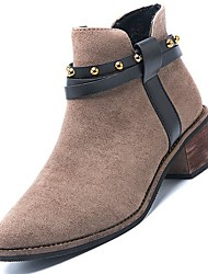cheap -Women's Shoes Cashmere Winter Fashion Boots Boots Chunky Heel Round Toe Mid-Calf Boots Beading for Casual Black Khaki