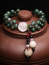 cheap -Women's Bracelet Strand Bracelet Onyx Jade Vintage Elegant Jadeite Beads Round Jewelry For Wedding Daily